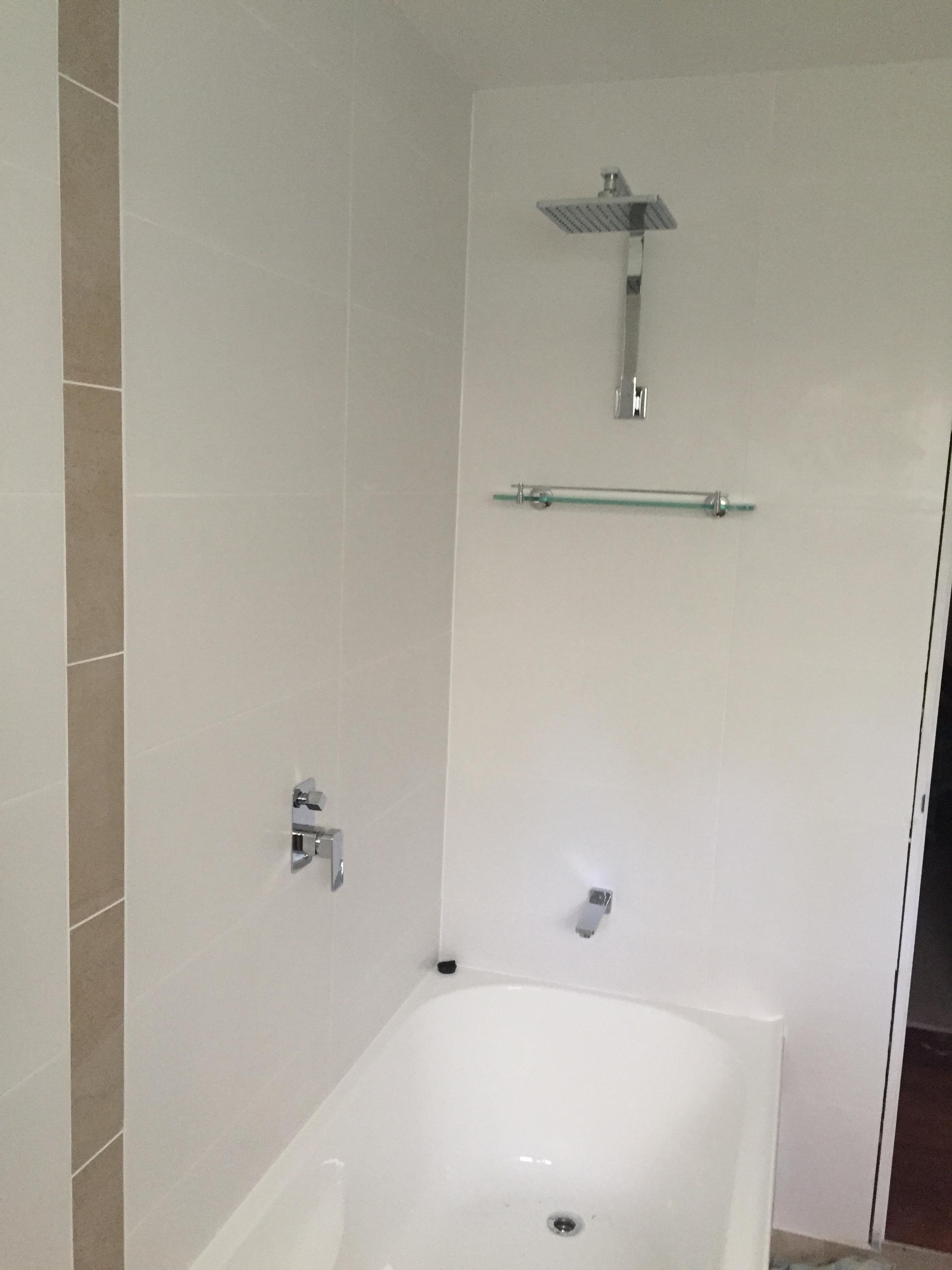 new bath & shower in bathroom