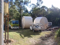 large water tank installation