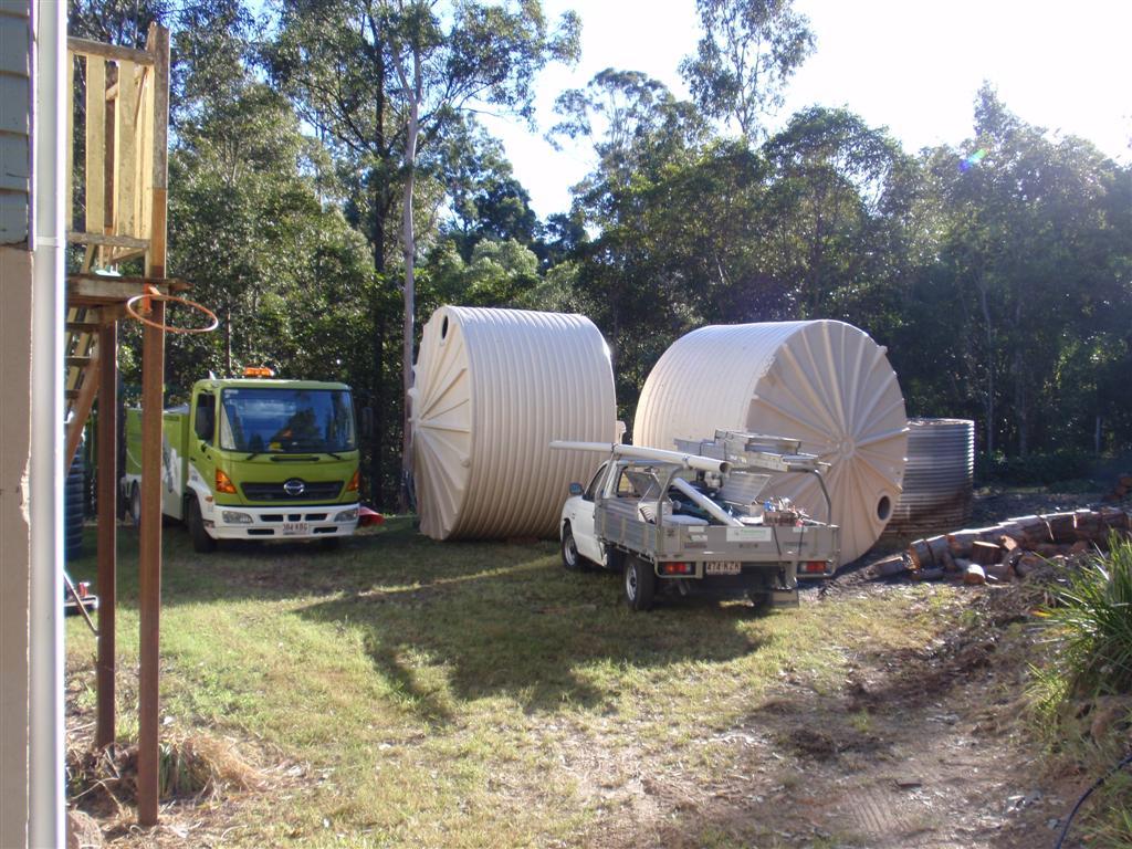 large water tank installation